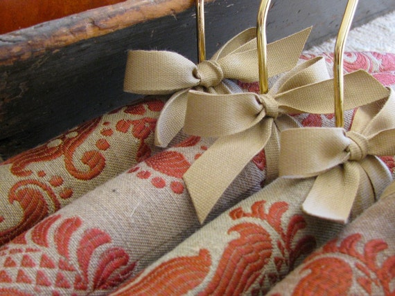 Padded Hangers, Flax and Rust Traditional Pattern with Organic Taffeta Ribbon (Set of 4)