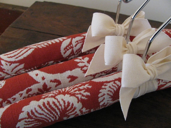 Padded Hangers, Woven Red Toile with Organic Woven Ribbon (Set of 3)