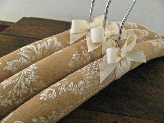 Padded Hangers, Butterscotch Damask Woven with Organic Taffeta Accent (Set of 3)