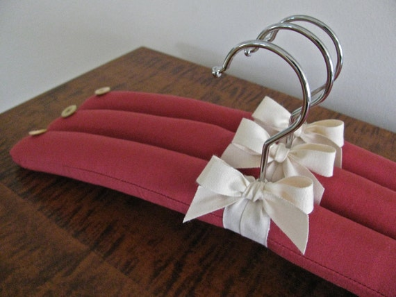Red Padded Hanger Set, Red Woven Fabric with Natural Organic Ribbon Accent and Vintage Bone Buttons (Set of 3)