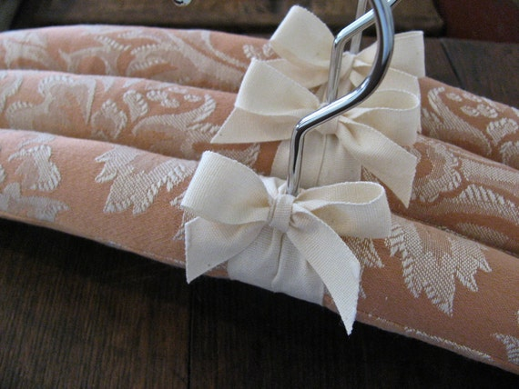 Coral Damask Padded Hangers with Organic Taffeta Accent (Set of 3)