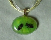 Green honeybees acrylic pendant   yellow organza necklace