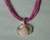 Scallop shell acrylic pendant   fuschia organza necklace