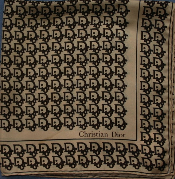 Vintage Dior Logo 70s Silk Pocket Square Christian Dior