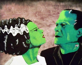 Frankenstein and his Bride - Hand Painted Posterboard.