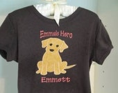 Embroidered Boutique T-shirt with Custom Puppy Applique