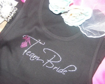 4 Team Bride Bridesmaid Maid of Honor Rhinestone Tank or Shirt Package Bachelorette Party