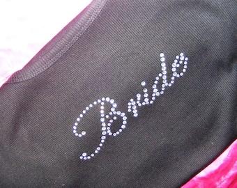 Bride Tank Top / Bride simple script rhinestone tank top / Bridal shower gift / Bachelorette shirt / small / medium / large / XL / XXL /  3X