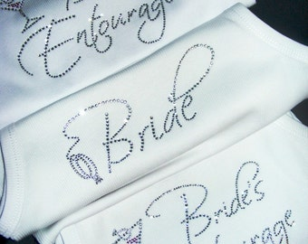 White Bride Rhinestone Shirt. Bridesmaid. Bride's Entourage Tank Top. Wedding. Maid of honor. Matron Of Honor. Bride Martini Shirt.  white