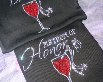 Matron of honor tank top shirt. Mother of The Bride. Bridesmaid Red Wine Glass. Bride Martini Glass Shirt. Bride Shoe rhinestone shirt.