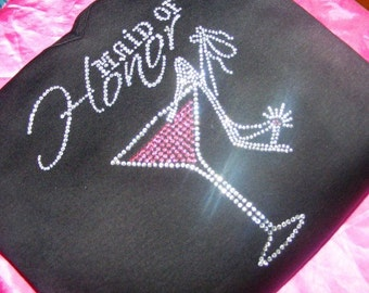 Maid of Honor Pink Martini Glass Maid of Honor Gift Crystal Rhinestone Tank Shirt Bachelorette Party