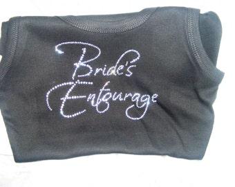SALE Bride's Entourage Bridal PArty Shirt: Black, white, hot pink, purple, brown, royal blue, aqua, wedding theme, bridesmaid bride tank top