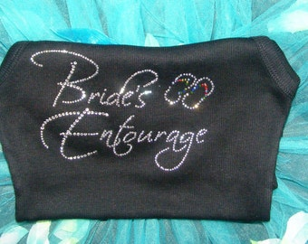 Bride's Entourage bling Flip Flops Tank Top .  half lace Bridesmaid tanks with flip flops in rhinestones . Pink, black, white, aqua blue,