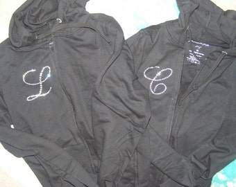 Bridesmaid Rhinestone Hoodies / Ladies Bridesmaid Hoodies / Personalized Initial Hoodies / Zip Up Bridal Party Sweatshirt / Bride To Be