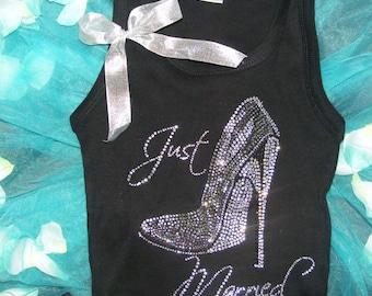 Just Married Rhinestone Heel Shirt. Just Married Tank Top. Just Married Stiletto shirt.  Bride Shirt. bride Jeweled Shirt. Bride-To-Be Tank.