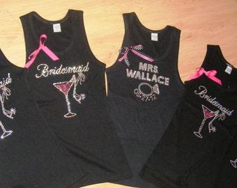 9 Bachelorette Party Tank Tops - Personalized Bachelorette Shirts with Rhinestones - martini / shoe - purple, pink,  aqua blue , navy