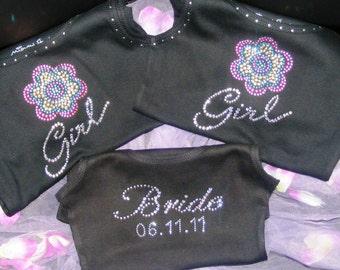 2 hot pink black Crystal Rhinestone BLING jeweled Flowergirl Tank Top Shirt  wedding gift ideas SALE