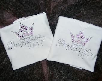 Custom Princess Shirt. Personalized Name Shirt. Personalized Girls Birthday Shirt. Princess Tank Top. Princess Princess Crown bling Shirt.