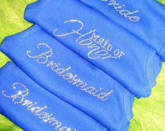 3 bridesmaid tank tops - ribbed - rhinestone- royal blue