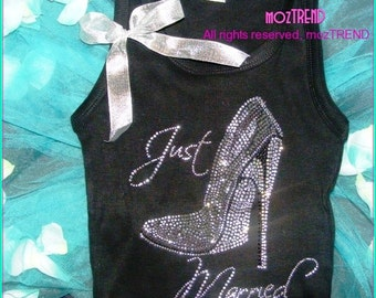 Just Married Tank Top. Just married high heel shoe shirt. Wedding Gift. Bridal Shower Gift. Bride to be Shirt.  Pink, purple, royal blue