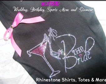 The Bride Tank Top- Bride with a pink martini and shoe shirt- Bridesmaid shirts- Bridal Party shirts- white, yellow, pink, aqua, purple