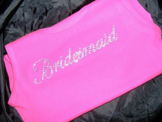 Fuchsia Hot Pink Wedding Theme Ideas Bride Bridesmaid Crystal Rhinestone Bling Tank Top Shirt Bridesmaid Gift Ideas Package