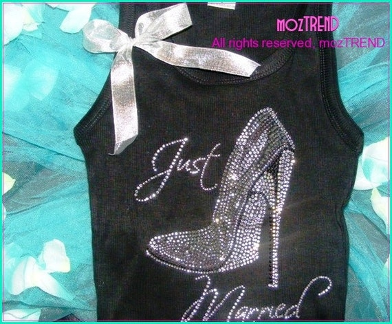 Just married rhinestone shirt . Bride T-shirt . Gift for Bride . Just Married Tank Top with stiletto shoe . Bride Shirt . Honeymoon shirt .