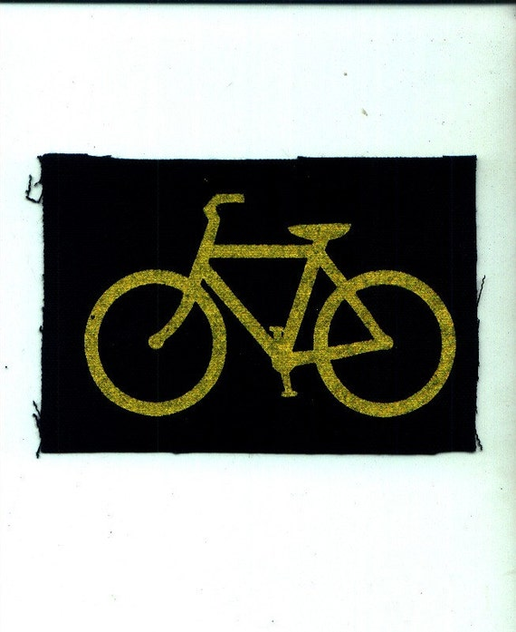 Wearable Bicycle Art Print Patch - Universal Symbol Screen Printed on Canvas