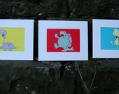 Zombie Dinosaurs - The Complete, Three-Print, Medulla-Snacking Set (5x7 Matted Prints)