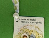 HOLLY HOBBIE Handmade Bookmark from Vintage Playing Card & Button with Grosgrain Ribbon