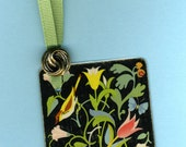 BIRDS & FLOWERS Vintage Playing Card Handmade Bookmark with Button and Grosgrain Ribbon