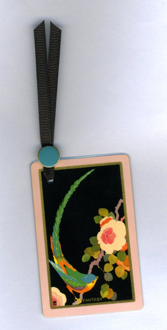 Handmade Bookmark FANTASY Art Deco Vintage Playing Card & Button with Grosgrain Ribbon
