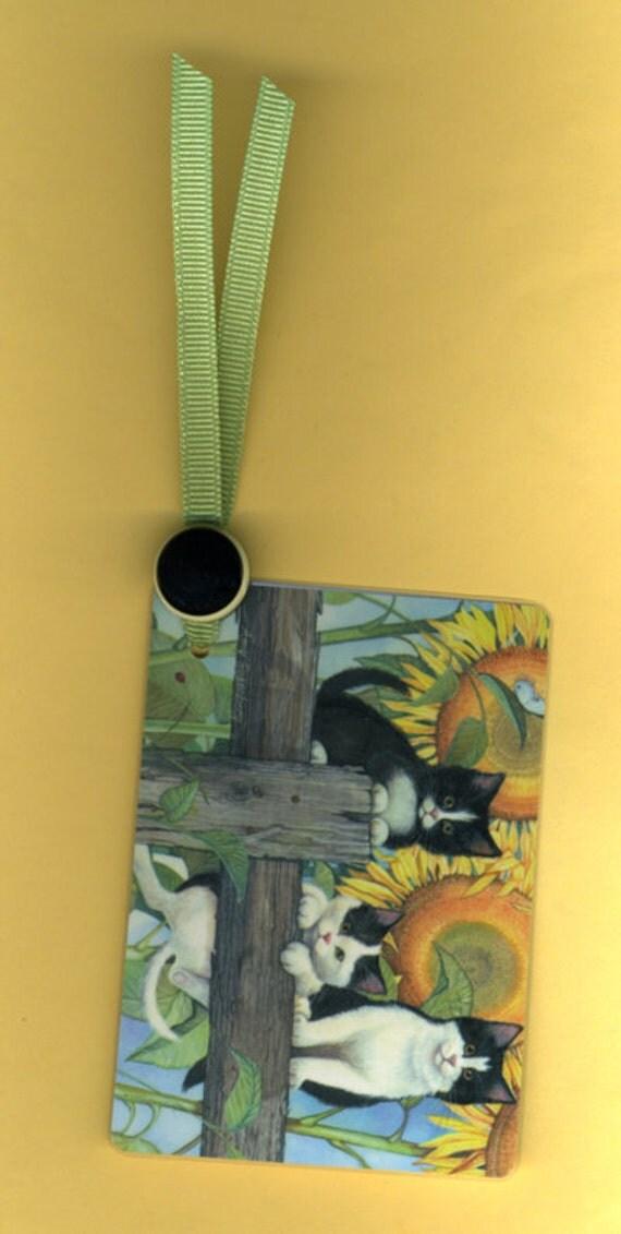 Handmade Bookmark FLOWER GARDEN CUTIES Vintage Playing Card & Button with Grosgrain Ribbon