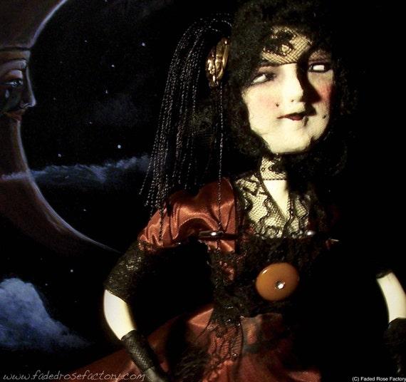 OOAK Art Doll, goth, hard sculpted, strange, odd steampunk