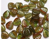 50 Heart-Shaped Leaf Beads Rust Amazon Swirl Czech Glass
