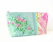 reserved  for Susan -- zipper pouch cosmetic bag - aqua and pink with yellow rick rack