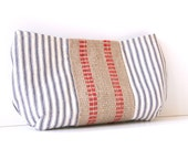 nautical clutch purse /  red white blue / patriotic / ticking fabric / jute webbing / summer fashion / 4th of July