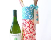 Wine tote with jute handle / hostess gift / party favor / bridesmaids