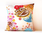floral throw pillow cover - reversible 18 x 18