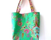 Reserved for Betty - large tote bag / summer / emerald green / market bag / summer fashion / designer fabric