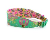 crazy love reversible headband / emerald green and mustard floral / summer fashion