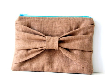 brown linen bow clutch, spring summer fashion, bridesmaids clutch, makeup bag, gifts for her, gift for teen girls