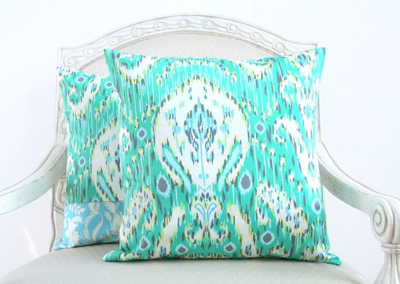"reserved for Jennifer - Amy Butler - Lark in Emerald - decorative throw pillow cover - 18"" x 18"""