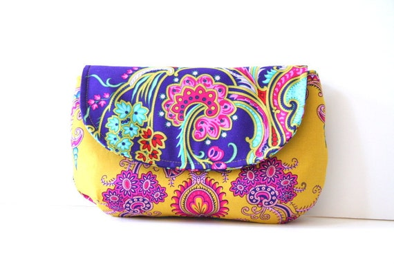 bohemian style clutch purse in mustard with purple floral flap / summer fashion