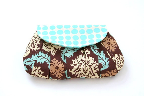 pleated summer clutch purse in teal and brown / summer fashion