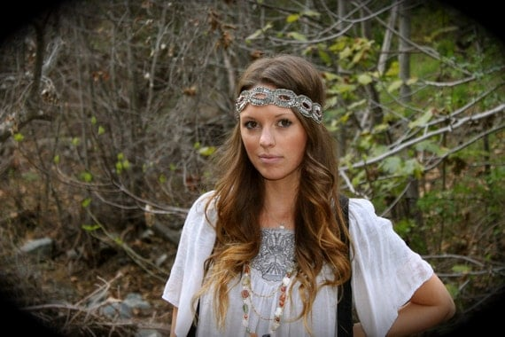 The Bohemian- Detailed Grey Beaded Headband