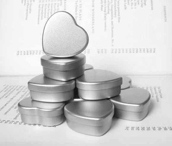 mini heart Tin, jewelry box, candle tin, lip balm tin, blank (set of 12) silver color
