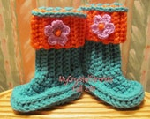 Buggs- Teal Crochet Baby Booties w/ Coral Detachable Band and Flower Accent