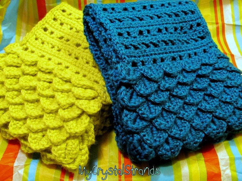 Crochet Crocodile Stitch Scarf in Teal and Lemongrass Pick