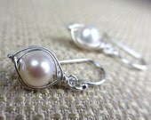 Fresh Water Luscious White Pearl Sterling Silver Earrings